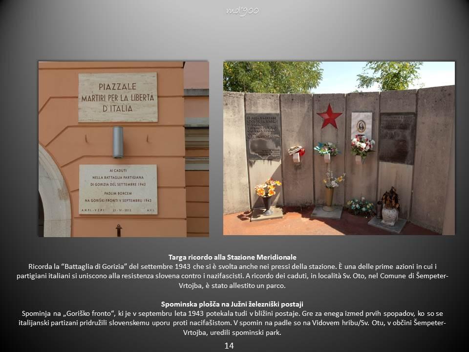 Targa ricordo alla Stazione Meridionale - Spominska plošča na Južni železniški postaji