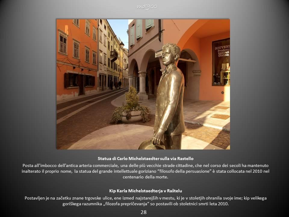 Statua di Carlo Michelstaedter sulla via Rastello -  Kip Karla Michelstaedterja v Raštelu